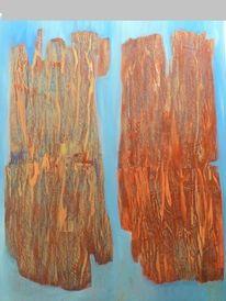 Malerei, Frottage, Schwemmholz, Ölmalerei