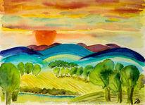Sonne, Hügel, Sonnenuntergang, Wolken