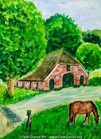 Pferde, Niederlande, Aquarellmalerei, Haus