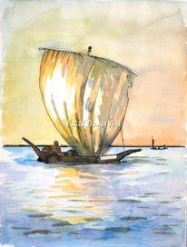 Sonnenuntergang, Boot, Afrika, See