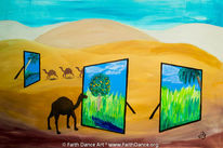 Sand, Acrylmalerei, Oase, Wüste