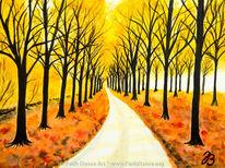 Aquarellmalerei, Landschaft, Niederlande, Herbst