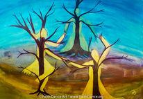 Tanz, Baum, Frau, Acrylmalerei