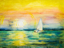 Meer, Aquarellmalerei, Sonnenaufgang, Italien