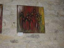 Stehen, Gruppe, Erwartung, Malerei