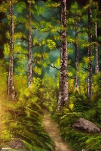 Ölmalerei, Alte bäume, Waldweg, Stimmung