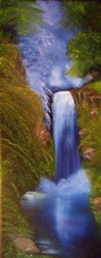 Ölmalerei, Stimmung, Wald, Wasserfall