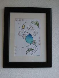 Natur, Blumen, Blätter, Zeichnung
