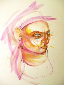 Aquarellmalerei, Frau, Portrait, Malerei