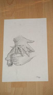 Bleistiftzeichnung, Baby, Fuß, Hand