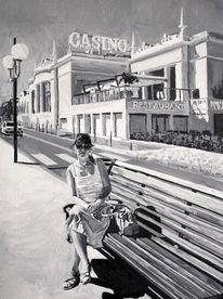Frau, Casino, Straße, Bank