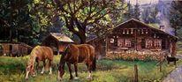 Alp, Rosenlaui, Hütte, Pferde