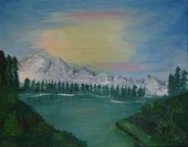 Sonnenaufgang, Wasser, Berge, Strauch