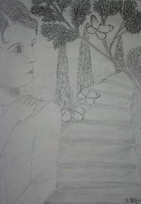 Treppe, Schmetterling, Mädchen, Zweig