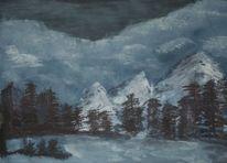 Schnee, Eis, Winternacht, Kälte