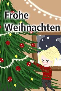 Lichterkette, Weihnachtsbaum, Schnee, Digitale kunst
