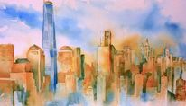 Nyc, Freedom tower, Aquarellmalerei, Newyork
