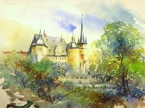 Coburg, Aquarellmalerei, Kirche, Schloss