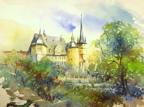 Ahorn, Bayer, Coburg, Aquarellmalerei