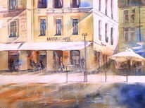 Arches 300g, Albertsplatz, Coburg, Aquarellmalerei