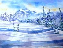 Aquarellmalerei, Winter, Landschaft, Schnee