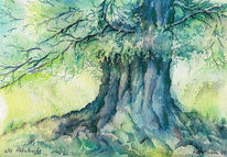 Aquarellmalerei, Baum, Rhön, Rhönbuche