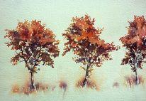 Rotes laub, Baum, Herbst, Aquarellmalerei