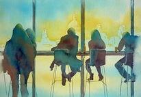 Tate modern, Menschen, Großbritannien, Aquarellmalerei