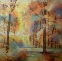 Herbst, Aquarellmalerei, Blätter, Bunt