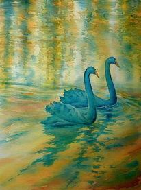 Aquarellmalerei, Schwan, Coburg, Oberfranken