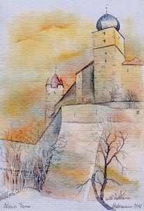Aquarellmalerei, Coburg, Blauer turm, Oberfranken