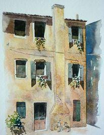 Alt, Fensterladen, Aquarellmalerei, Kamin
