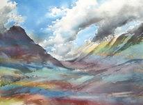 Schottland, Wolken, Aquarellmalerei, Berge