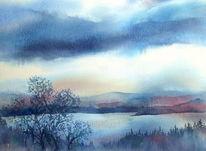 Wolken, Isle, Raasay, Aquarellmalerei