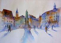 Aquarellmalerei, Oberfranken, Coburg, Marktplatz