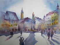 Aquarellmalerei, Marktplatz, Oberfranken, Coburger marktplatz