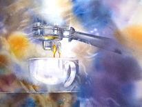 Espresso, Aquarellmalerei, Dampfmaschine, Siebträger