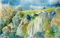 Hochrhön, Wasserfall, Aquarellmalerei, Eisgraben