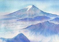 Berge, Blau, Fuj san, Japan