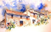 San pietro, Ferienhaus, Aquarellmalerei, Marke