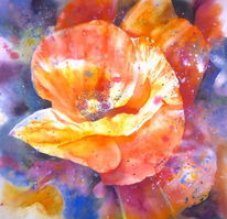Mohnblumen, Rot, Blumen, Aquarellmalerei