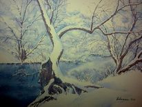 Winter, Aquarellmalerei, Schnee, Fluss