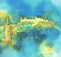 Veste coburg, Oberfranken, Aquarellmalerei, Franken