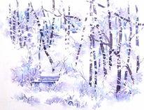 Gefroren, Frost, Winter, Aquarellmalerei