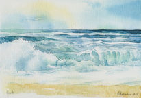 Ozean, Brandung, Aquarellmalerei, Sprühen