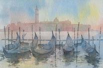 Venedig, San giorgio maggiore, Gondel, Sonnenaufgang