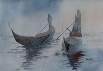 Aquarellmalerei, Gondel, Venedig, Nebel