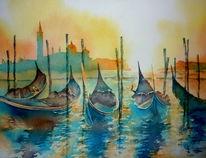 Aquarellmalerei, Venezia, Gondel, Italien