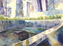 New york, Nyc, Aquarellmalerei, Ground zero