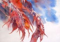 Herbst, Aquarellmalerei, Ahorn, Blätter